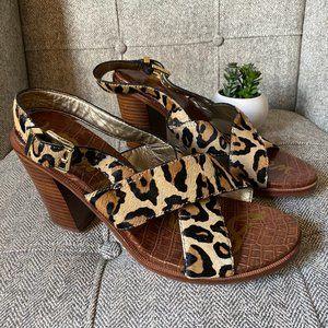 NWT • Sam Edelman • Leopard Wood Chunky Heels